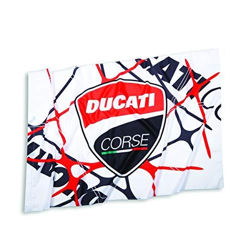 Ducati 987699431 Fahne Banner Fan Flag Bandiera Corse Power Flagge weiß-Rot-schw