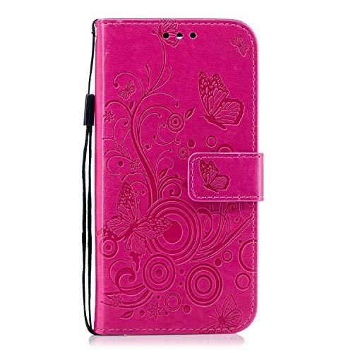 Lomogo Huawei Honor 8 Hülle Leder, Schutzhülle Brieftasche mit Kartenfach Klappbar Magnetisch Stoßfest Handyhülle Case für Huawei Honor 8 - LOXCH030331 Rosa Rot