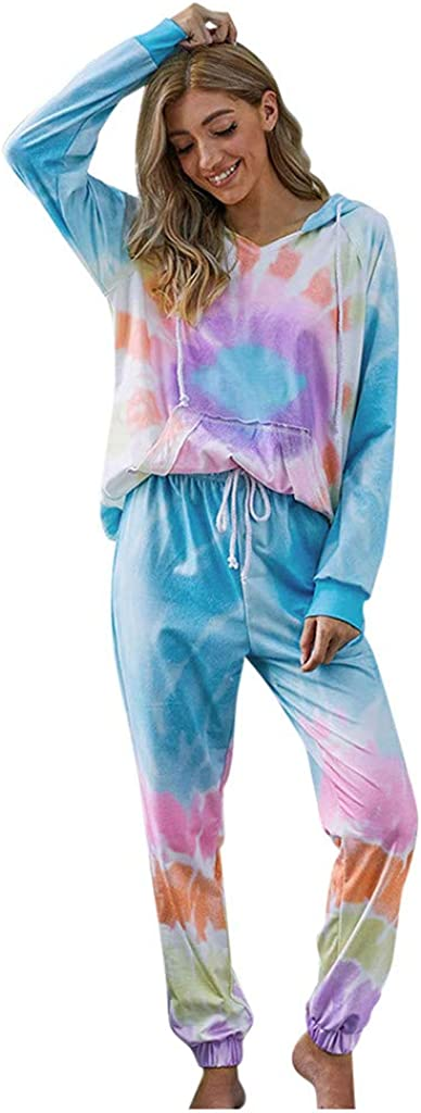 Forwelly Womens Tie Dye Outfits Casual Loose Long Sleeve Hoodies with Pocket and Drawstring Sweatpant 2 Piece Set