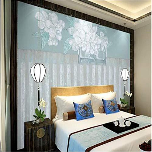 soggiorno, decorazione per feste Carta da parati cinese vintage Decorazioni per la casa Carte da parati non tessute Semplici sfondi Elegance Blue Lotus per soggiorno-300 X 250CM