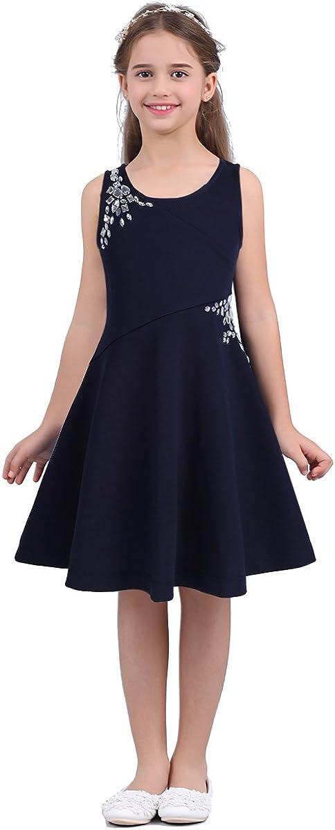 TiaoBug Little Girls Sleeveless Dazzling Rhinestones Tween Embellished Party Dress Outfit Casual Summer Sundress wear