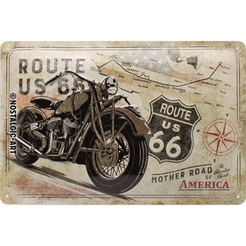 Nostalgic-Art 22279 Route 66 Bike Map | Retro metalen bord | Vintage bord | Wanddecoratie | Metaal | 20x30 cm