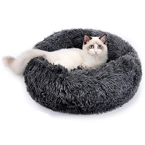 RAINBEAN Pet Bed for Cats and Dogs Plush Round Nest Cushion Basket Donut Marshmallow Pet Bed Warm Calming Cuddler Donut Kennel Soft Puppy Sofa Sleeping, Dark Grey 50cm