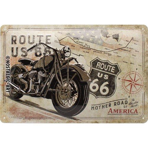 Nostalgic-Art Retro Blechschild Route 66 Bike Map – Geschenk-Idee für USA-Fans, aus Metall, Vintage-Design zur Dekoration, 20 x 30 cm