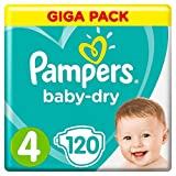 PAMPERS Baby-Dry, tamaño 4, (9 – 14 kg), Mega Plus, Pack 120 unidades