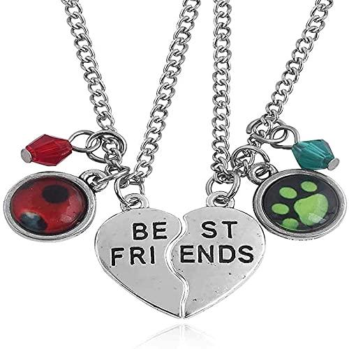 Quanshijie Collar de Mariquita Best Friend Letter Symbol Símbolo Colgante Cat Ladybug Pareja Regalo para Tus Amigos