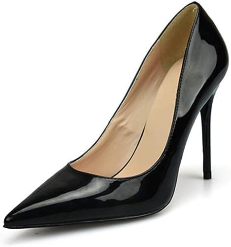 MUJUN Mode été élégant Pompes à Bout Pointu D'Orsay pour Les Femmes, en Cuir Microfibre Verni Talons Hauts Stiletto Cocktail Party Ball Prom Robe chaussures (Couleur   noir 10 cm Heel, Taille   38 EU)