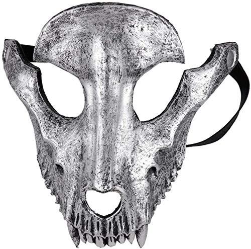 MXCYSJX Halloween Maske Halloween Ziege Schädel-Form-Maske Halloween Cosplay Maskerade-Partei-Schaf-Schädel-Gesichtsschablone Kostüm-Dekor,Silber