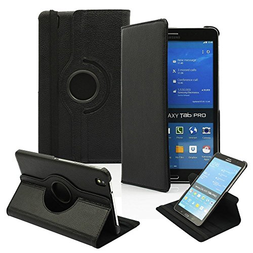 """PT Ultra Slim Lightweight Smart-Shell Rotating Leather Stand Protective Cover Case for Samsung Galaxy Tab Pro 8.4"""" inch Android Tablet SM-T320/T325/T321(Will NOT Fit Tab Pro S 8.4) (Black)"""