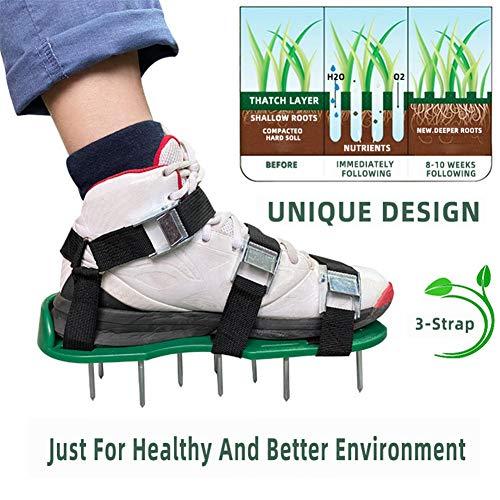 MXXQQ Zapatos de césped aireador, con 3 Correas Ajustables aireador de Pinchos, Sandalias Talla Universal, para Efectivamente Suelo de aireación de césped y un más Sano Yard Jardín,Verde