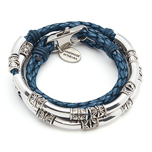 Lizzy James Mini Maxi Silver Plated Braided Leather Wrap Bracelet in Natural Blue Leather