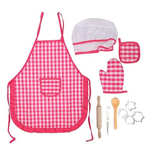 Yinuoday Diy Kid Cooking Set para Hornear Cocina Juego de Roles Delantal Niños Cocinando Juguetes para Niñas Regalo