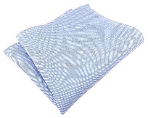 TigerTie - Fazzoletto da taschino, 100% cotone piqué, tinta unita, 30 x 30 cm, Azzurro/Bianco, Taglia unica