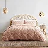 Bedsure Tufted Duvet Cover Set King Size, 3 Pieces Embroidery Shabby Chic Comforter Cover Set, Soft and Durable Bedding Set for All Seasons, Coral Pink