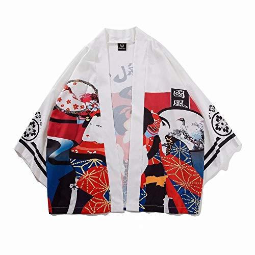 N/ A Personalidad Japonesa Street Style Étnico Reunión Estilo Etiqueta Kimono Kimono FKYGDQ (Color : White, Size : L)