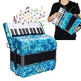 Acordeón de teclado, 22 teclas, 8 bajos, acordeón de piano para estudiantes, principiantes, niños, acordeonista portátil, instrumento musical, acordeón de juguete con correa