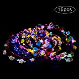 Parsion Led Blumenkranz, 15pcs Garland Stirnband Dekorative Leucht 7 LEDs Böhmen Blume Stirnband...