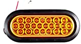 [ALL STAR TRUCK PARTS] 6' Oval LED Recessed Amber Strobe Light, 24 LED DOT/SAE Approved & Marked, Waterproof, Super Bright High Powered Strobe for Towing (With Grommet)