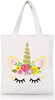 Unicorn Tote Bag - Reusable Canvas Shopping Grocery School Bag Unicorn Gift for Girls Women