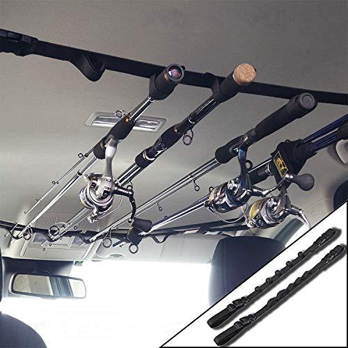 車載用ロッドキャリー ロッドキーパーベルト・マジック式車内固定マルチベルト 釣り竿用結びバンド 保護ベルト 2本セット ロッドホルダーに/ルアーロッド等リールを付けたままの釣竿の車載・収納に/最大5本まで対応