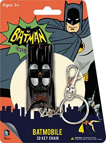 NJ Croce Animated Classic Batmobile 3D Comic Book Hanging Keychain Charm