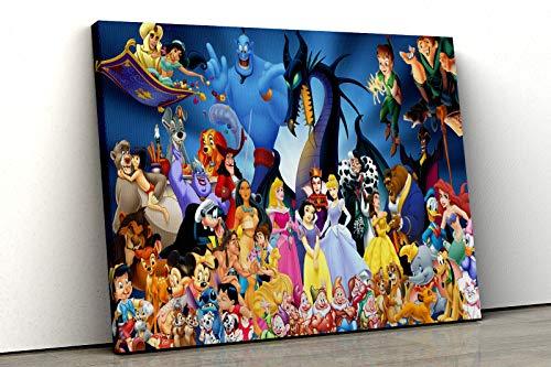 Colección de personajes de Disney 52 del Norte de Disney, lienzo enmarcado, decoración de dormitorio infantil A3 (16x12inch)