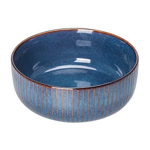 Hoteck Salatschüssel aus Keramik, Große Porzellan Salatschale Oder Suppenschale 21cm,Blau
