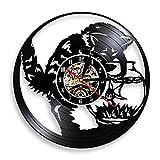 YINU Gato Pesca en pecera Vinilo LP Registro Reloj de Pared Gato Negro atrapasueños Vintage Cocina Reloj Acuario Gatito decoración de Miau