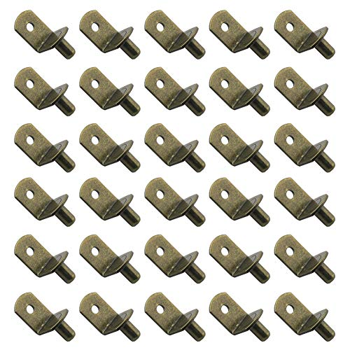 30 Pieces 5mm Bracket Style Cabinet Shelf Pins with Hole 4mm Hole Shelf Support Pegs L-Shaped Hardware Heavy Duty Shelf Support Pins for Kitchen Cabinet Furniture Book Shelves, Bronze-Tone