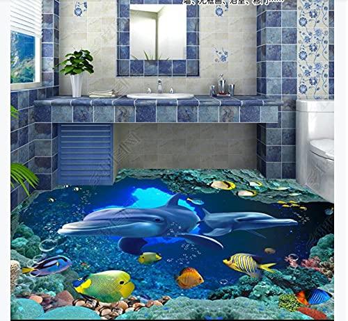 Empaquetado de baldosas autoadhesivas3D Caldo de piso de delfín submarino Pintura estéreo Wall-150 * 105Cm Wall Sticker Calcomanías Decoración de habitación