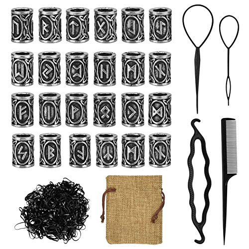 Yontree 24 Pcs Viking Rune Beads Hair Beard Bead for Braiding DIY Bracelet Necklace Pendant Norse Tube Dreadlocks Bead for Men Women with Rubber Bands and Pouch