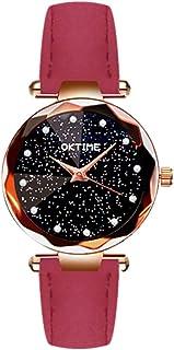 Festnight Women Fashion Brilliant Starry Night Dial Watch Lady Simple Exquisite Metal Quartz Wrist Watch