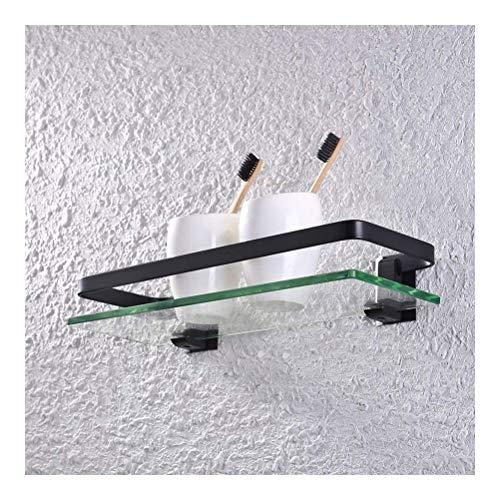 ZhanMaGS Estante de baño de vidrio templado cuadrado negro estantes de baño con riel montado en la pared de 35 cm espacio de aluminio