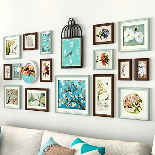 Foto muur decoratie foto frame foto frame muur woonkamer achtergrond muur creatieve fotowand combinatie van chocolade - gekleurd, blauw op wit