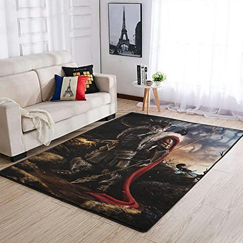 Hothotvery Fantasy vikingo Odin Rabe Speer alfombra estampada no derramada alfombra decoración para pasillo blanco 122 x 183 cm
