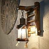 Wandlampe Vintage WZOED Petroleumlampe Retro Nostalgie Wandleuchte Korridor Innenhof Kerosin Glas Pferd E27 Leuchte Tube-Käfig Cafés Loft [Energieklasse A++]