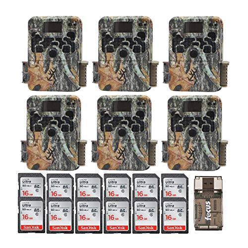 (6) Browning Trail Cameras Strike Force Extreme 16 MP Game Cameras + 12 16GB SD Cards + Focus USB Reader