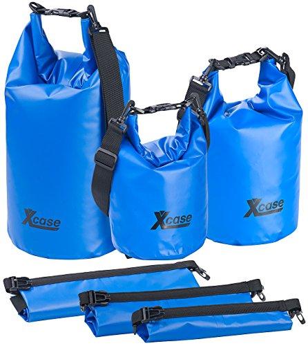 Xcase Waterproof Bag: 3er-Set wasserdichte Packsäcke aus LKW-Plane, 5/10/20 Liter, blau (Transportbeutel)
