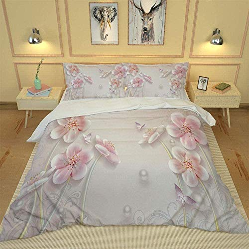 Juegos de fundas de edredón, sábanas de flores de color rosa claro, juego de fundas de edredón beige, impresión 3D en HD, ropa de cama para niños adultos, juegos de fundas de edredón tamaño king-220cm