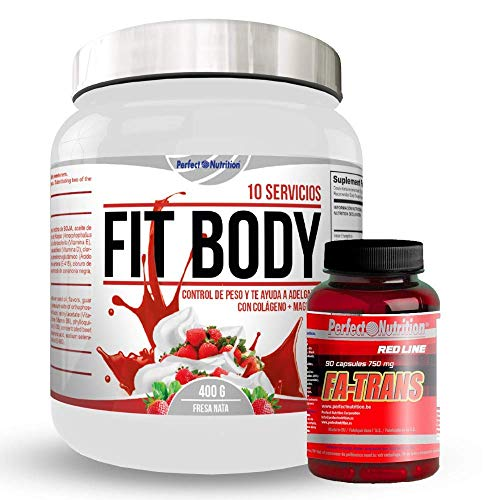 Gewichtsverliespakket: maaltijdvervangende shake + vetverbrandend thermogeen dieet voor mannen en vrouwen (Strawberry-Cream)