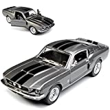 Kinsmart Ford Mustang Shelby GT-500 1967 I 2. Generation Coupe Grau mit schwarzen Streifen ca 1/43 1/36-1/46 Modell Auto