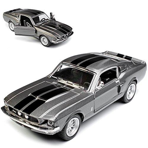 Kinsmart Ford Mustang Shelby GT-500 1967 I 2. Generation Coupe Grau mit schwarzen Streifen ca 1/43 1/36-1/46 Modell Auto mit individiuellem Wunschkennzeichen