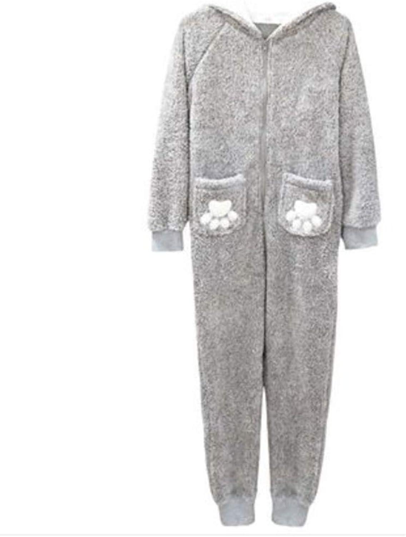 NAN Liang Women's onePiece Pajamas, Cotton Pajamas, Korean Cartoon Animal Hooded Padded Warm Home Service Soft (Size   M)