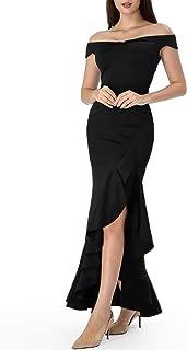 Womens Off Shoulder Ruffle Split Formal Evening Mermaid Maxi Dress