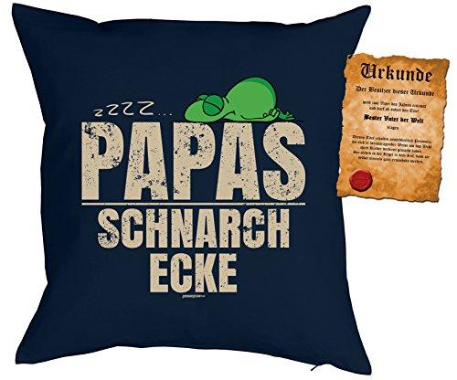 Kissenbezug 40x40 cm mit Motiv zum Vatertag: zzz... Papas Schnarch Ecke. Frosch - Mit gratis Urkunde - Deko Kissen - Kopfkissen - navyblau