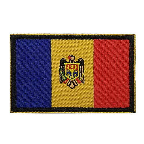Aufnäher mit Moldawien-Flagge, bestickt, zum Aufbügeln oder Aufnähen – Emblem, taktisch, militärisch, Moral, lustige Aufnäher, Applikationen mit Klettverschluss