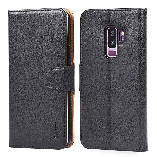 Migeec Handyhülle Kompatibel mit Samsung Galaxy S9 Plus Leder Hülle Tasche Flip Cover Schutzhülle - Schwarz