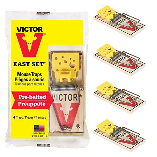 Woodstream Victor Pack de 4 trampas Easy Set de fácil Ajuste con Pedal Que atrae al ratón-Ratonera de Calidad para atrapar y capturar roedores-Duradero, higiénico y eficaz #M032, Amarillo