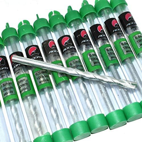 10 Pack Addax 6.5 x 100mm Masonry Drill Bits Zinc - Brick Block Mortar Clearance