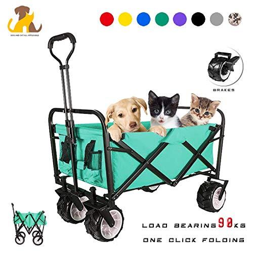 Nwayd Multifunktion Haustierwagen, Hunde Katzen Trolley,Faltbar Bollerwagen,90 kg Tragkraft,Ausziehbarer Griff,Platzsparend Optimal geeignet für Ausflüge Und Festivals/HandwagenGreen
